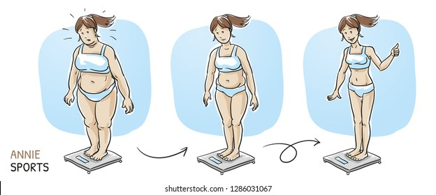 Three versions of a women standing on scales, fat overweight, plump and slim. Fitness studio training and weight loss. Hand drawn cartoon sketch vector illustration, whiteboard marker style coloring.
