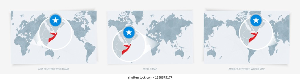 Three versions of the World Map with the enlarged map of Somalia with flag. Europe, Asia, and America centered world maps.
