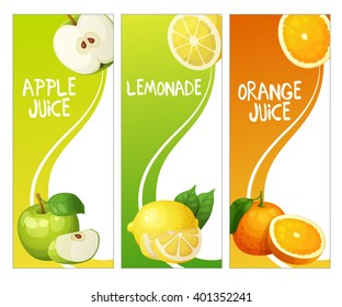 Three vertical banners with apple, lemonade and orange fruit juice. Cartoon vector illustration.