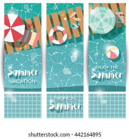 Three vertical banners with swimming pool, top view, tropical summer time holiday vacation, vector illustration