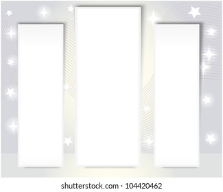 Three vertical billboards on a gray background with stars. EPS10. Vector illustration.