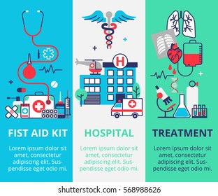 Three vertical medical banner in flat line style. First aid kit, Hospital and ambulance, Treatment. Can used for web banners and info graphic