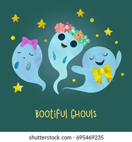 Three very beautiful and fashionable ghosts. Children cartoon style. Poster or postcard design. Watercolour imitation