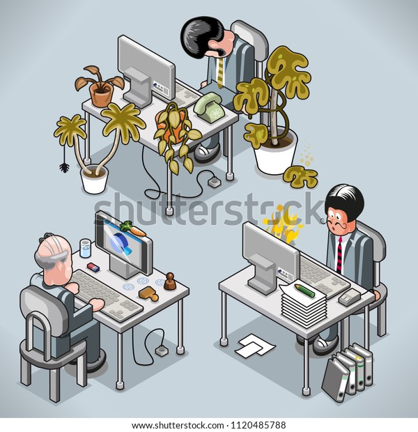 Three very busy businessmen: watching basketball, being yelled on the phone, getting close to burnout syndrome (vector cartoon in isometric view)