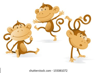 Three Very Cheeky Monkeys. Illustration of a group of monkeys getting up to all sorts of mischievous tricks and fun.