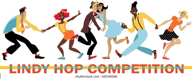 """Three vintage dressed couple dancing on a banner """"Lindy Hop Competition"""", EPS 8 vector illustration"""