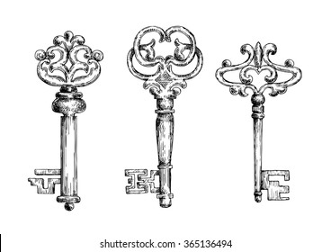 Three vintage medieval sketched key skeletons isolated on white background. For ancient or heraldry theme design usage