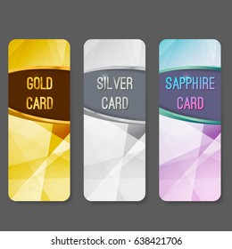 Three vip premium membership vertical cards flyers layout. Premium exclusive privilege private retail services. Gold silver and sapphire luxurious geometrical background pattern. Vector illustration