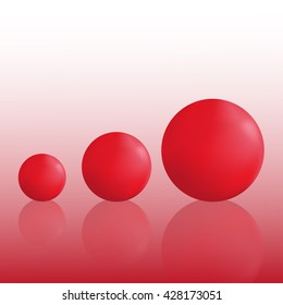 Three volumetric red ball. Isolated objects. Realistic objects with reflection.