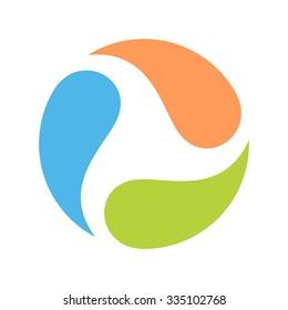 three water drop logo template. icon vector.