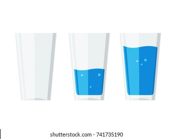 three water glasses Isolated on white; Empty, Half and Full