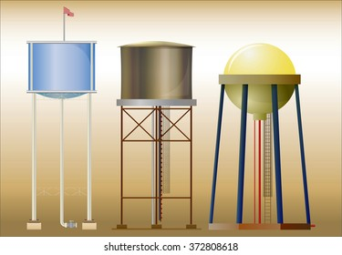 Three water towers / Set of three images water towers