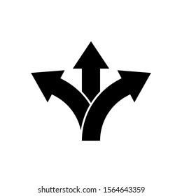 Three way direction arrow icon. Vector