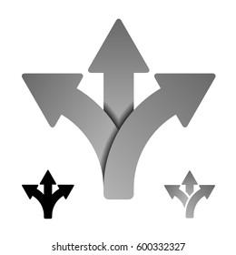 three way direction arrow symbol vector