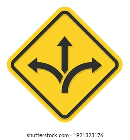 Three way direction sign. Way choice concept. Road arrow icon isolated on white background. Vector illustration.