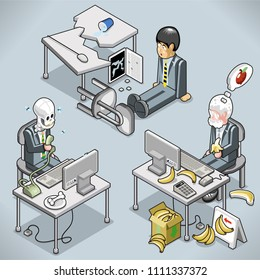 Three weird businessmen: breaking the desk and the laptop, waiting on the phone forever, eating bananas (vector cartoon in isometric view)
