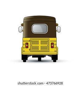 three wheeler back view in color-vector drawing