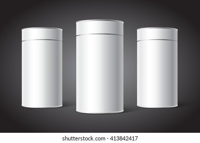 Three White Blank Tin can packaging mockup. Tea, coffee, dry products, gift box.
