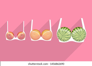 Three white brassieres with fruits inside, over colored background. Apple, grapefruit and watermelon are as small, medium and large breasts. How to orient in choosing of bra size