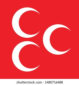 Three white crescents on red is the symbol of the Turkish patriots - Eps 10 vector and illustration