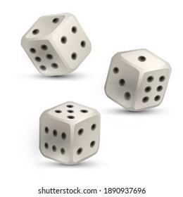 Three white dice on a white background