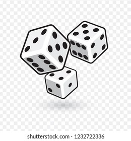 three white dices isolated on transparent background. vector illustration.