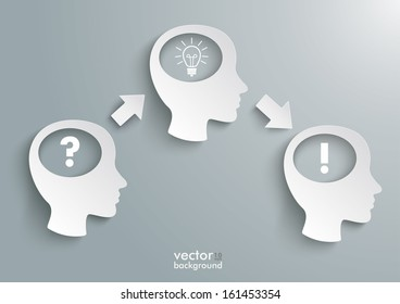 Three white heads on the grey background. Eps 10 vector file.