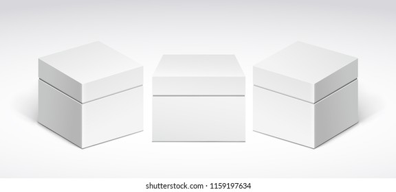 Three white packing boxes with lid, front view and side view.