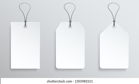Three white price tag. Vector label template
