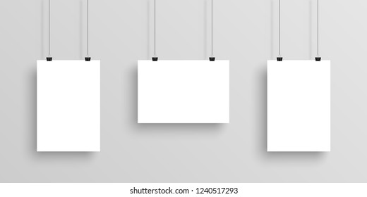 Three white realistic Poster mockup with shadow on gradient background. Eps10