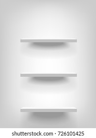 Three white realistic vector shelves attached to the wall vertically. Advertising equipment mockup in 3d style. Empty template for product display. Exhibition furniture, isolated, light grey colored.