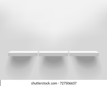 Three white realistic vector shelves attached to the wall. Advertising equipment mockup in 3d style. Empty template for product display. Exhibition furniture, isolated, light grey colored.