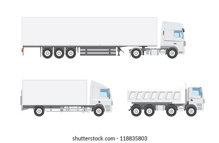 Three white vector trucks from a side view