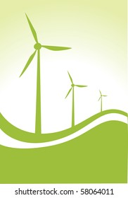 three wind generator on green and white background