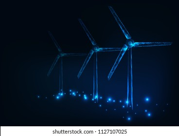 Three wind mills made of glowing  triangles, lines, dots. Wind turbines field. Renewable alternative sources of electric energy. Low polygonal wire frame design. Vector illustration.