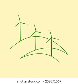 Three windmills standing on stylized outline hills isolated on yellow background. Eco concept. Logo template, menu decoration