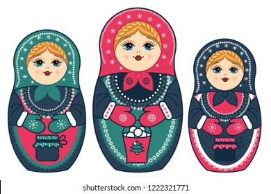 three winter nesting dolls with a bucket and jars of jam