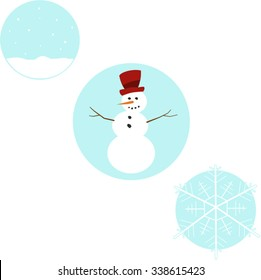 Three winter scenes in circles with snow falling, snowflake and a snowman