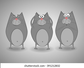 Three wise cats.