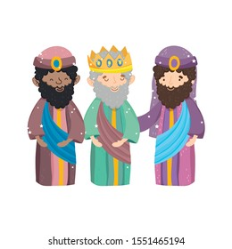 three wise characters manger nativity, merry christmas vector illustration