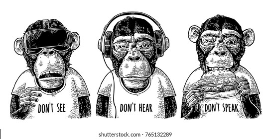 Three wise dressed monkeys with headphones, virtual reality headset and burger. Don't see, don't hear, don't speak handwriting lettering. Vintage black engraving illustration isolated on white