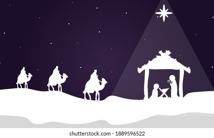 Three wise kings bring gifts to christ, vector art illustration.