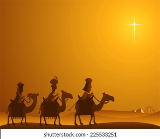 Three Wise kings following the Star of Bethlehem vector cartoon illustration