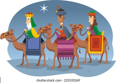 Three Wise kings riding camels vector cartoon illustration
