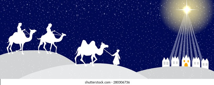 Three wise man with Bethlehem in the background- time line cover