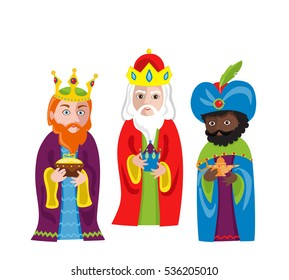 Three Wise Men bring gifts to Jesus on Christmas.Vector illustration isolated on white background.