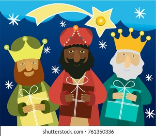 Three wise men bring presents