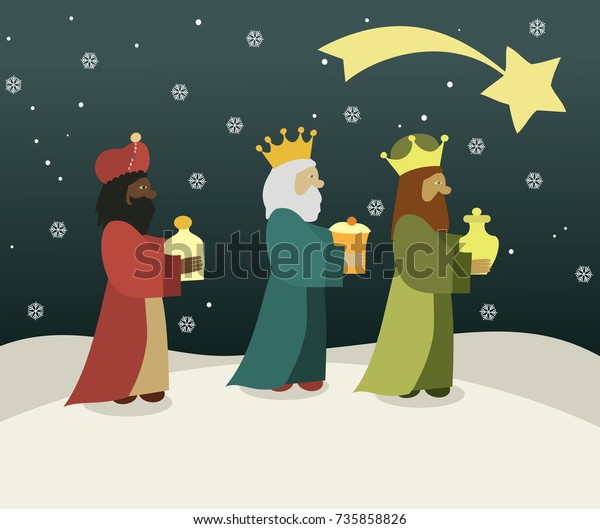 Three Wise Men Bring Presents Jesus Stock Vector Royalty Free
