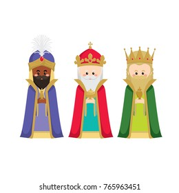 The three wise men bringing gifts to jesus