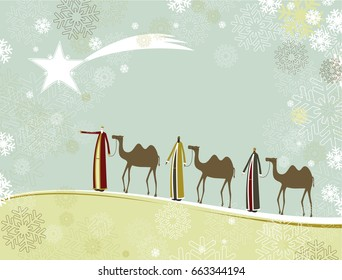Three wise men and camels